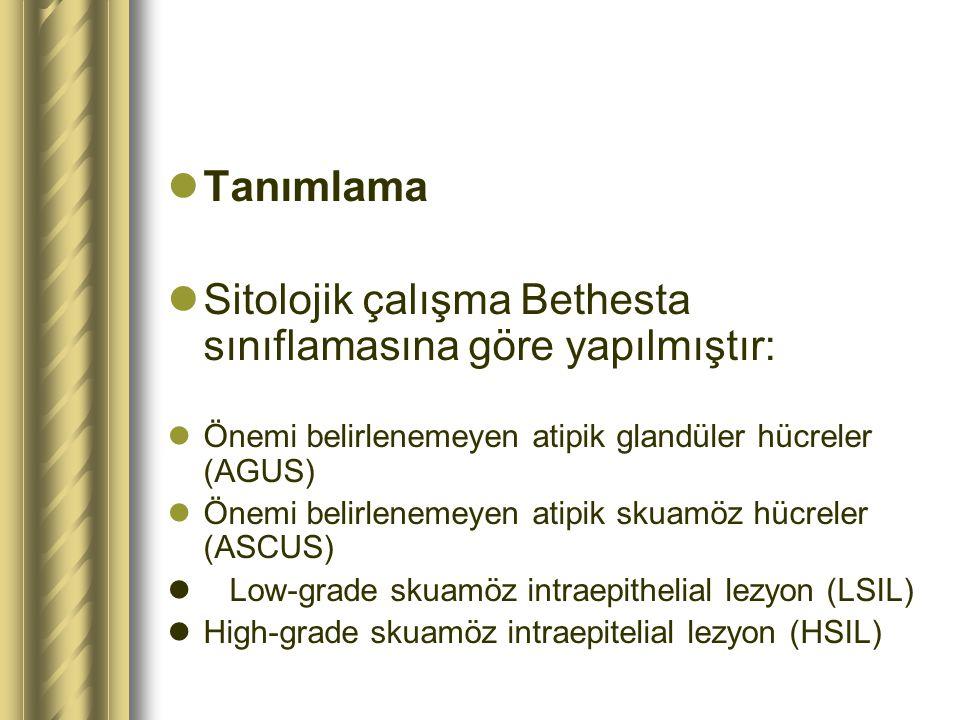 Sitolojik çalışma Bethesta sınıflamasına göre yapılmıştır: