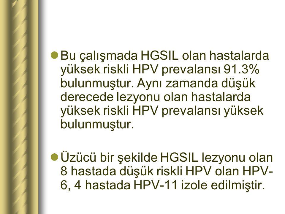 Bu çalışmada HGSIL olan hastalarda yüksek riskli HPV prevalansı 91