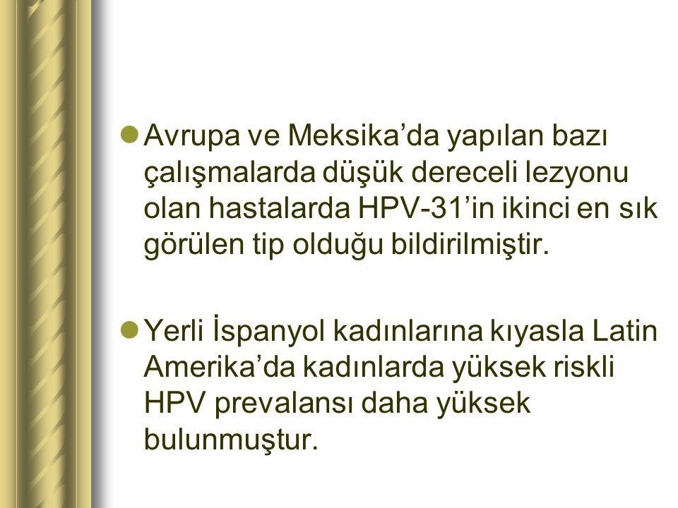 Avrupa ve Meksika'da yapılan bazı çalışmalarda düşük dereceli lezyonu olan hastalarda HPV-31'in ikinci en sık görülen tip olduğu bildirilmiştir.