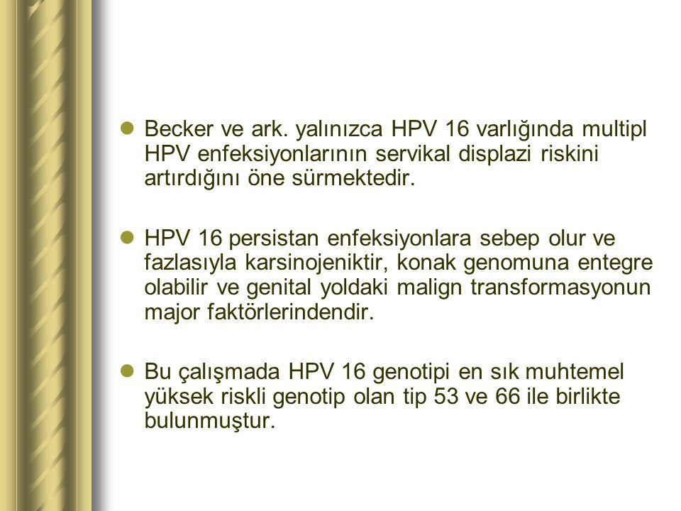 Becker ve ark. yalınızca HPV 16 varlığında multipl HPV enfeksiyonlarının servikal displazi riskini artırdığını öne sürmektedir.