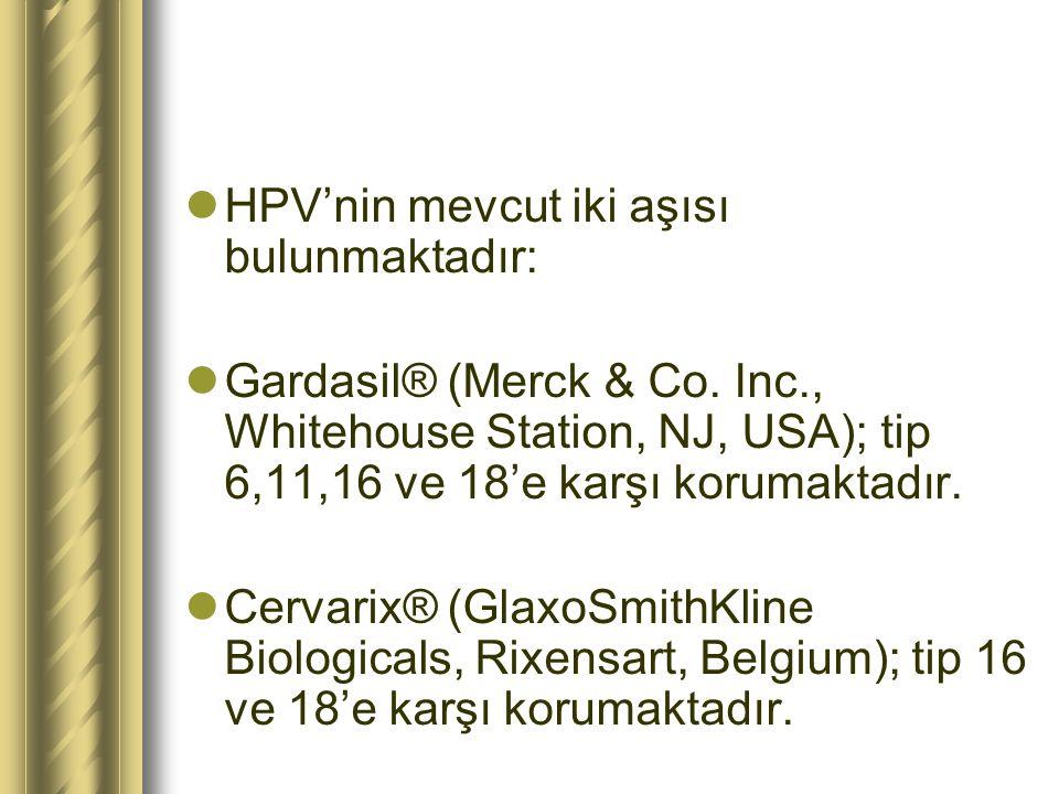 HPV'nin mevcut iki aşısı bulunmaktadır: