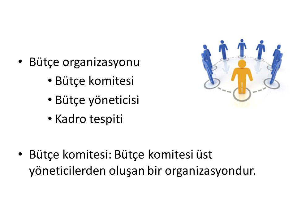 Bütçe organizasyonu Bütçe komitesi. Bütçe yöneticisi.