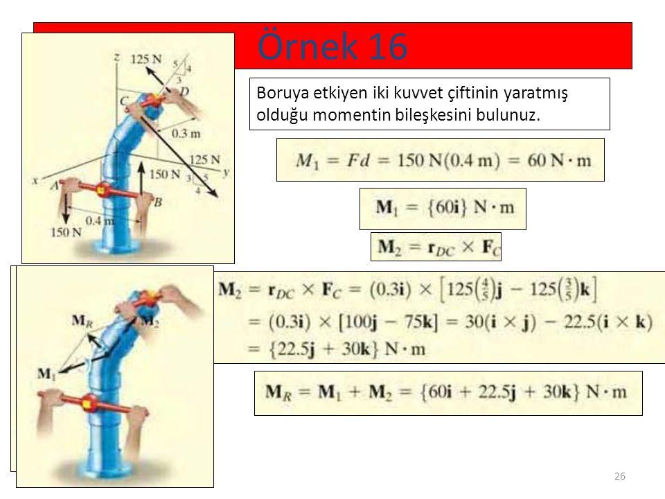 Örnek 16 Boruya etkiyen iki kuvvet çiftinin yaratmış olduğu momentin bileşkesini bulunuz.