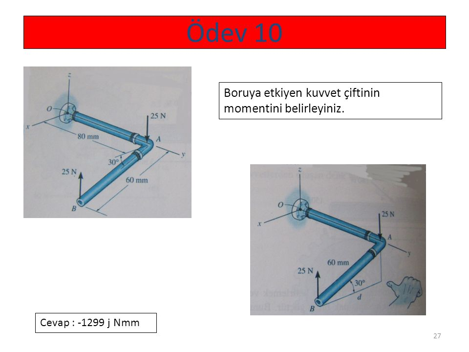 Ödev 10 Boruya etkiyen kuvvet çiftinin momentini belirleyiniz.