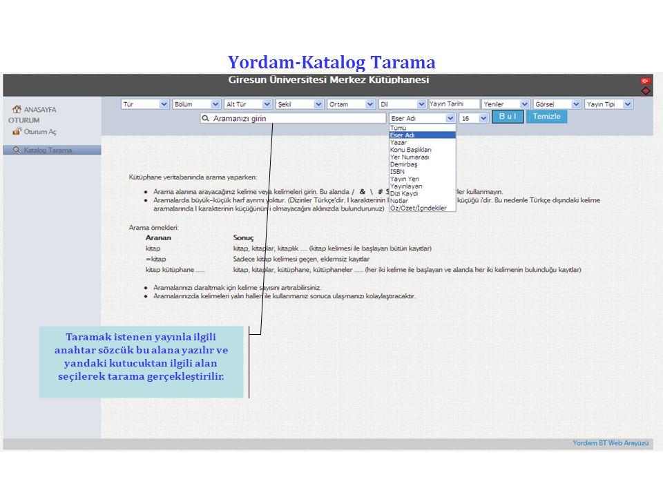 Yordam-Katalog Tarama
