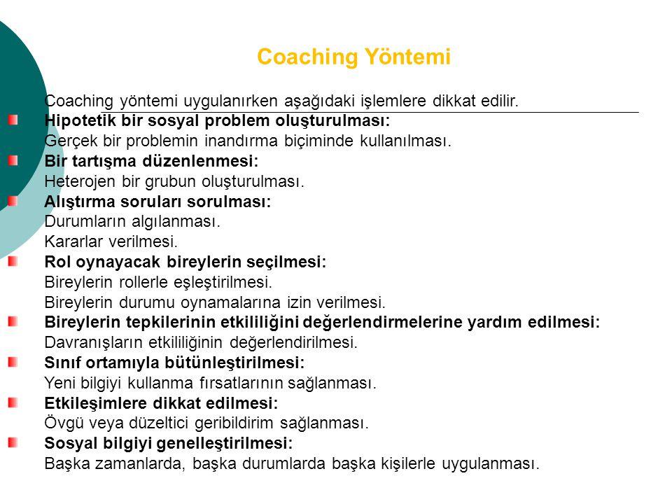 Coaching Yöntemi Coaching yöntemi uygulanırken aşağıdaki işlemlere dikkat edilir. Hipotetik bir sosyal problem oluşturulması: