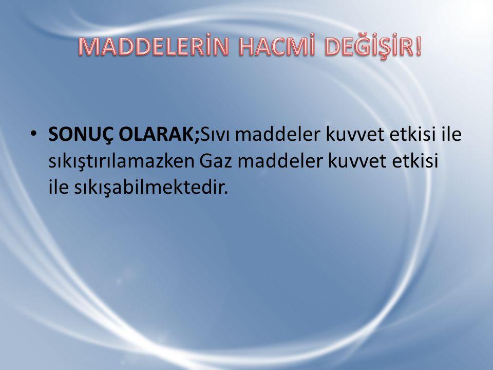 MADDELERİN HACMİ DEĞİŞİR!