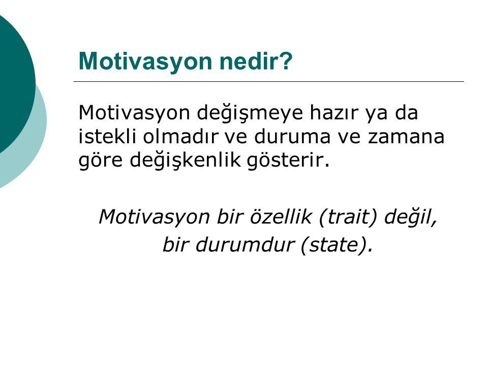Motivasyon bir özellik (trait) değil,