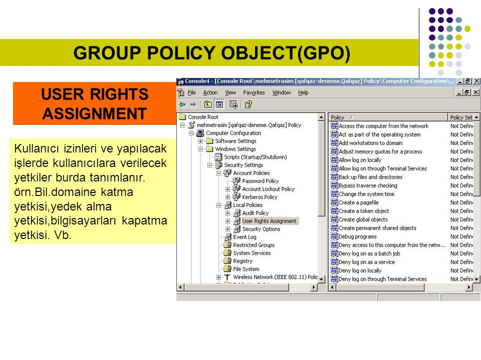 GROUP POLICY OBJECT(GPO) USER RIGHTS ASSIGNMENT