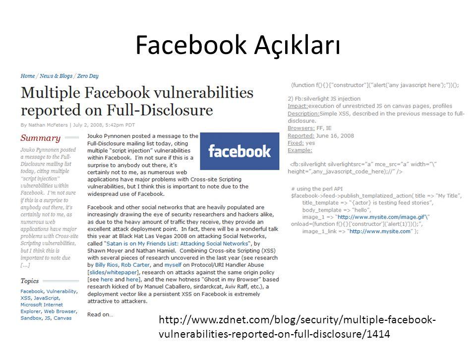 Facebook Açıkları http://www.zdnet.com/blog/security/multiple-facebook-vulnerabilities-reported-on-full-disclosure/1414.