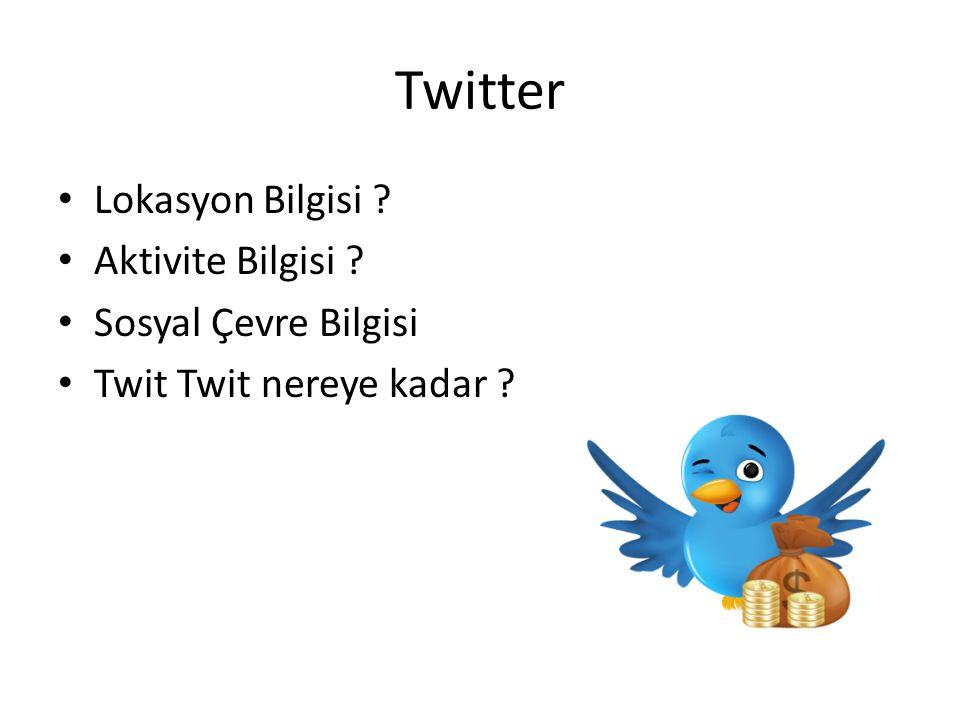 Twitter Lokasyon Bilgisi Aktivite Bilgisi Sosyal Çevre Bilgisi