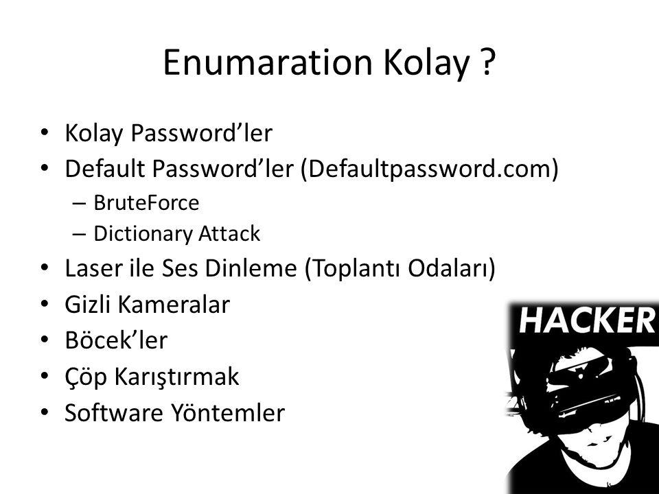 Enumaration Kolay Kolay Password'ler