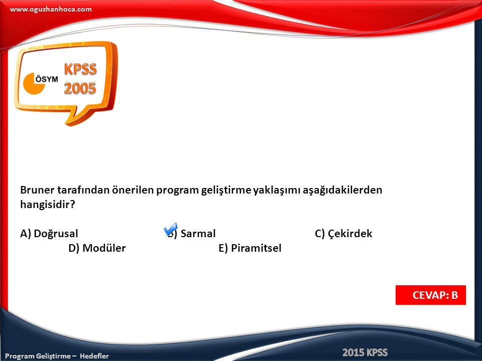 KPSS 2005. Bruner tarafından önerilen program geliştirme yaklaşımı aşağıdakilerden hangisidir