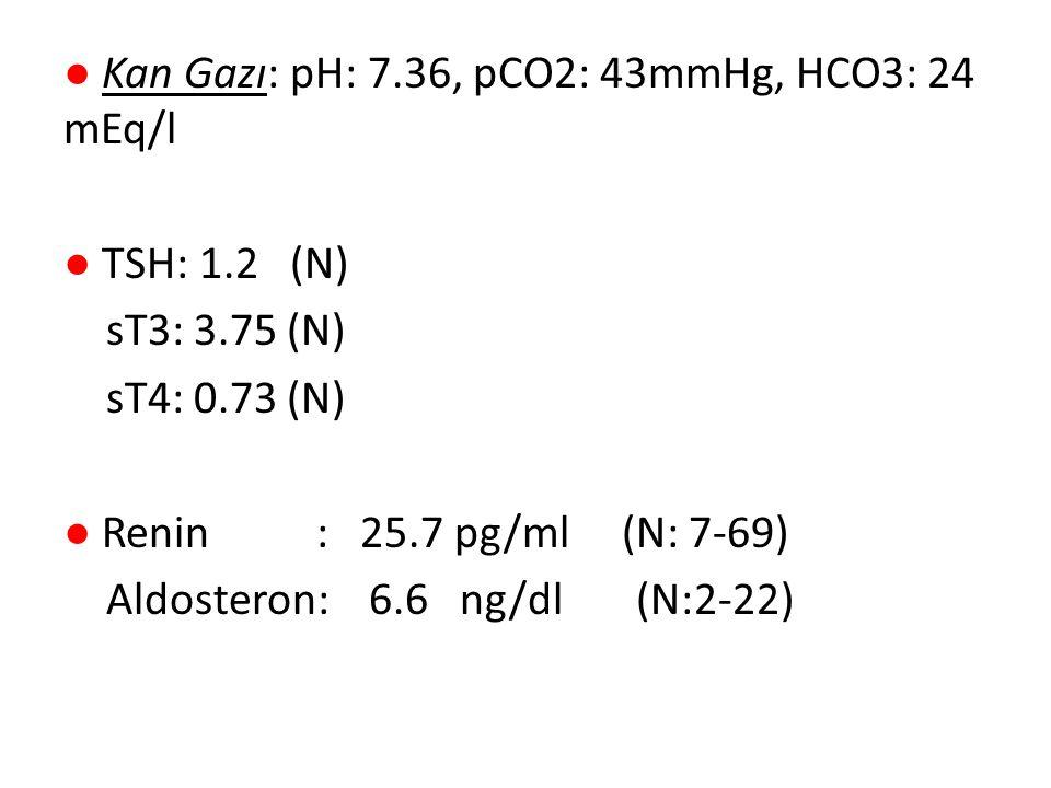 ● Kan Gazı: pH: 7. 36, pCO2: 43mmHg, HCO3: 24 mEq/l ● TSH: 1
