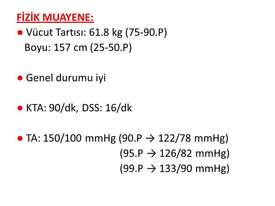 FİZİK MUAYENE: ● Vücut Tartısı: 61.8 kg (75-90.P) Boyu: 157 cm (25-50.P) ● Genel durumu iyi ● KTA: 90/dk, DSS: 16/dk ● TA: 150/100 mmHg (90.P → 122/78 mmHg) (95.P → 126/82 mmHg) (99.P → 133/90 mmHg)