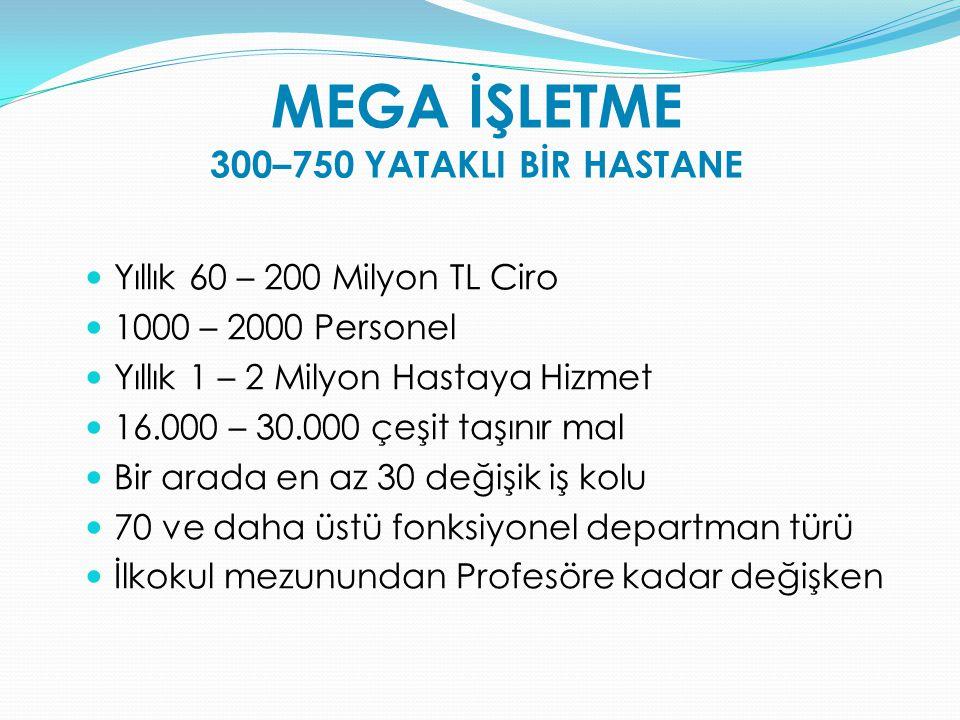 MEGA İŞLETME 300–750 YATAKLI BİR HASTANE