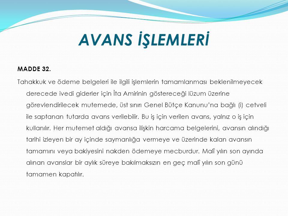 AVANS İŞLEMLERİ MADDE 32.