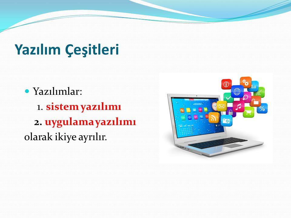 Yazılım Çeşitleri Yazılımlar: 1. sistem yazılımı 2. uygulama yazılımı