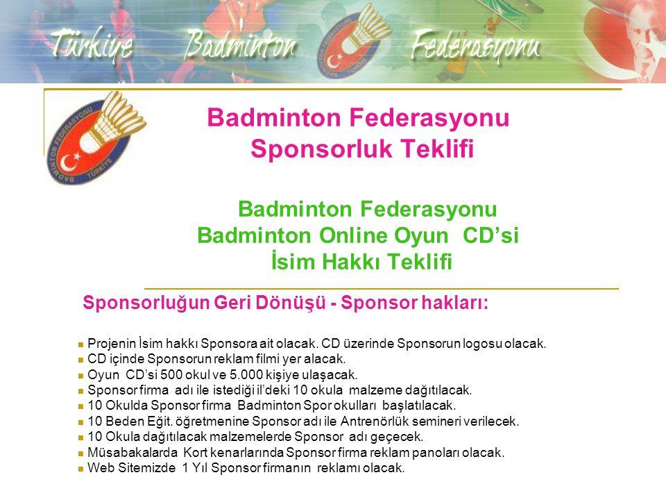 Badminton Federasyonu Sponsorluk Teklifi Badminton Federasyonu Badminton Online Oyun CD'si İsim Hakkı Teklifi