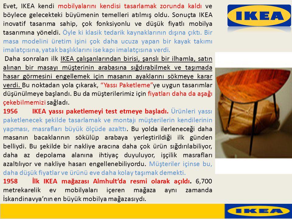 Evet, IKEA kendi mobilyalarını kendisi tasarlamak zorunda kaldı ve böylece gelecekteki büyümenin temelleri atılmış oldu. Sonuçta IKEA inovatif tasarıma sahip, çok fonksiyonlu ve düşük fiyatlı mobilya tasarımına yöneldi. Öyle ki klasik tedarik kaynaklarının dışına çıktı. Bir masa modelini üretim işini çok daha ucuza yapan bir kayak takımı imalatçısına, yatak başlıklarını ise kapı imalatçısına verdi.