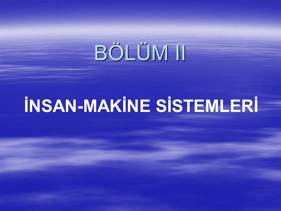 BÖLÜM II İNSAN-MAKİNE SİSTEMLERİ