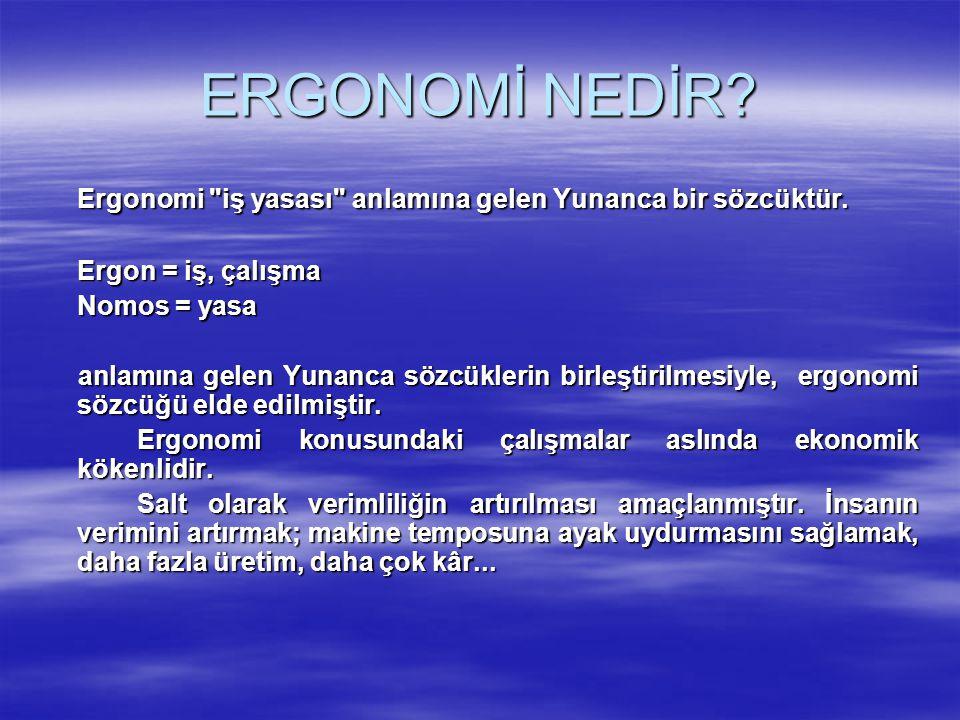 ERGONOMİ NEDİR Ergonomi iş yasası anlamına gelen Yunanca bir sözcüktür. Ergon = iş, çalışma. Nomos = yasa.