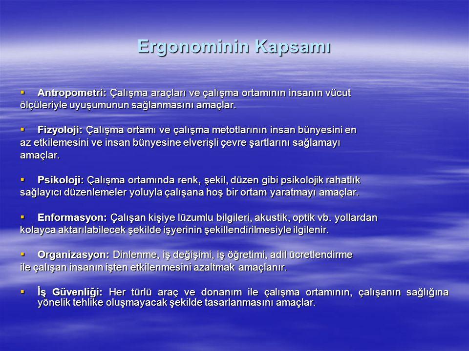 Ergonominin Kapsamı Antropometri: Çalışma araçları ve çalışma ortamının insanın vücut. ölçüleriyle uyuşumunun sağlanmasını amaçlar.