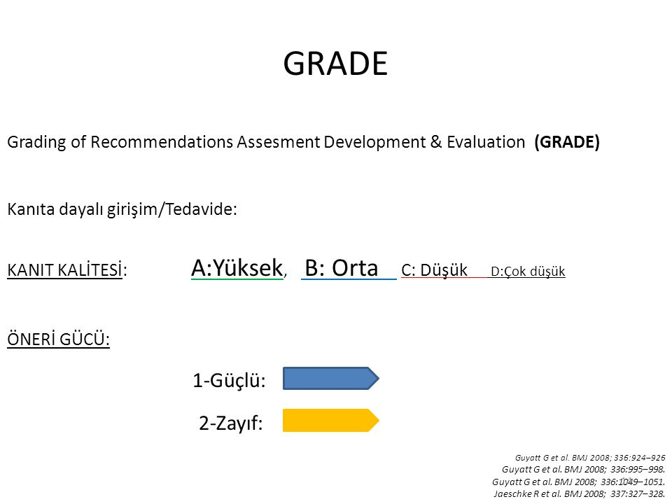 GRADE Grading of Recommendations Assesment Development & Evaluation (GRADE) Kanıta dayalı girişim/Tedavide: