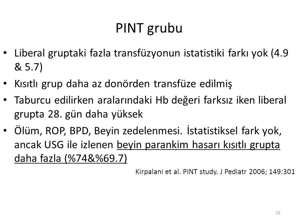 PINT grubu Liberal gruptaki fazla transfüzyonun istatistiki farkı yok (4.9 & 5.7) Kısıtlı grup daha az donörden transfüze edilmiş.