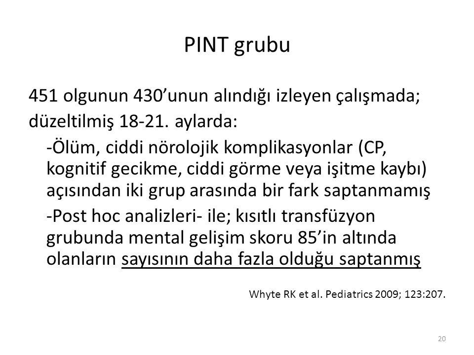 PINT grubu 451 olgunun 430'unun alındığı izleyen çalışmada;