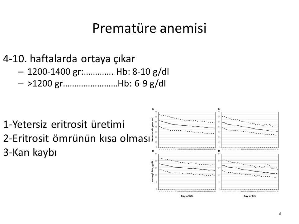Prematüre anemisi 4-10. haftalarda ortaya çıkar