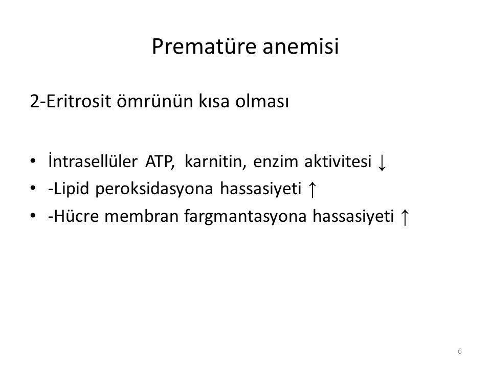Prematüre anemisi 2-Eritrosit ömrünün kısa olması
