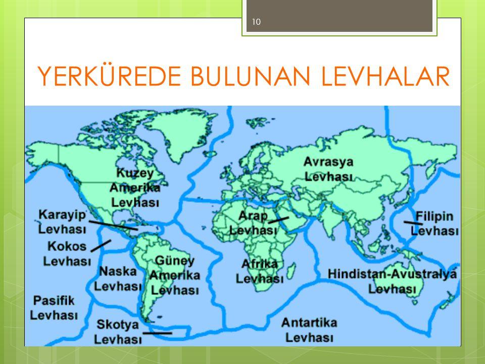 YERKÜREDE BULUNAN LEVHALAR