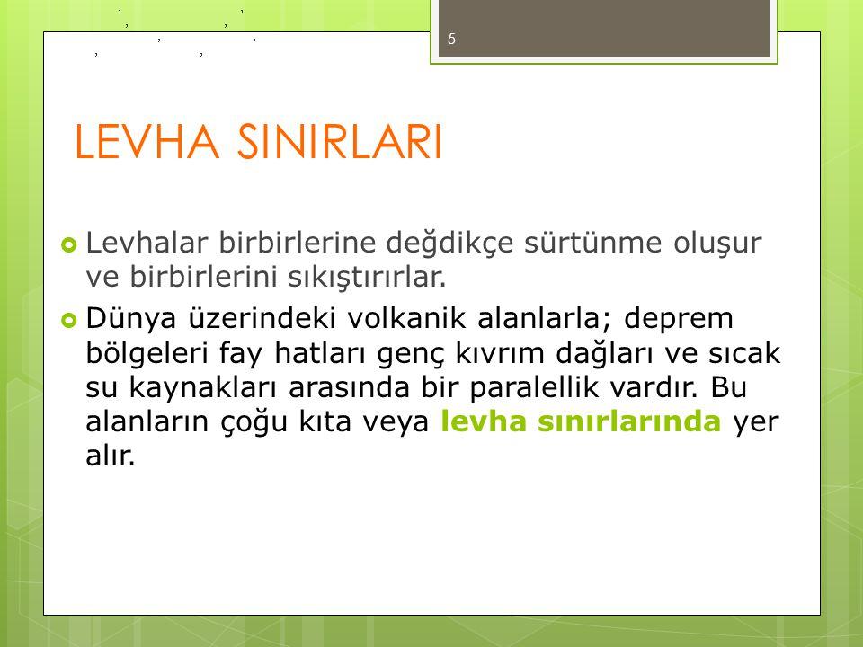 LEVHA SINIRLARI Levhalar birbirlerine değdikçe sürtünme oluşur ve birbirlerini sıkıştırırlar.