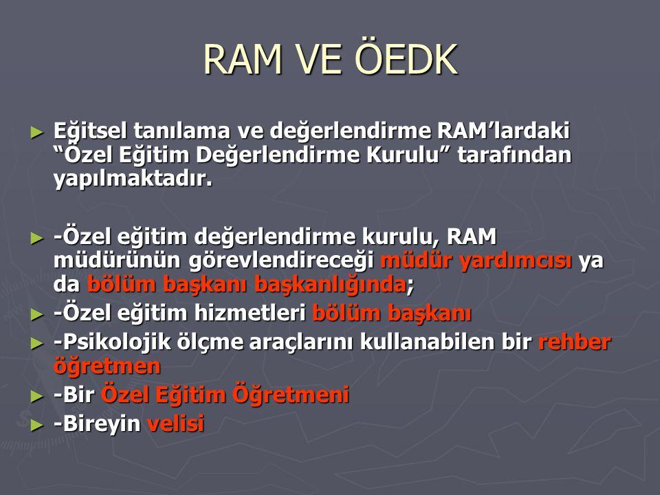 RAM VE ÖEDK Eğitsel tanılama ve değerlendirme RAM'lardaki Özel Eğitim Değerlendirme Kurulu tarafından yapılmaktadır.