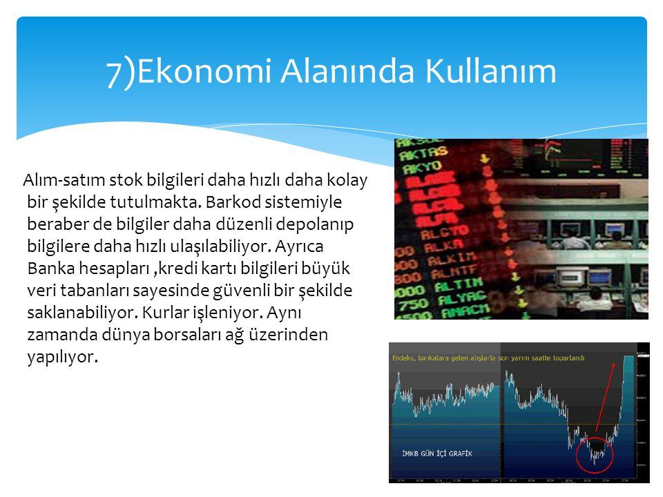 7)Ekonomi Alanında Kullanım