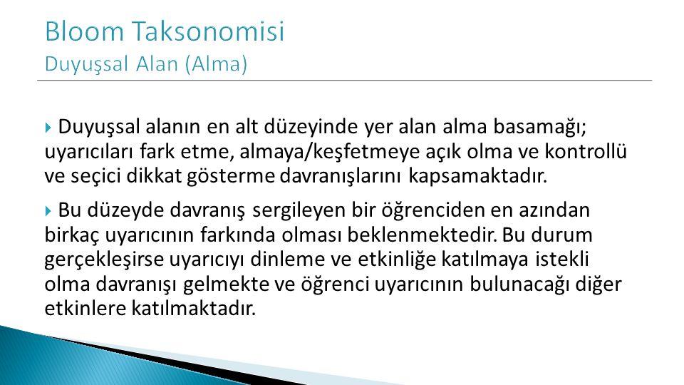 Bloom Taksonomisi Duyuşsal Alan (Alma)