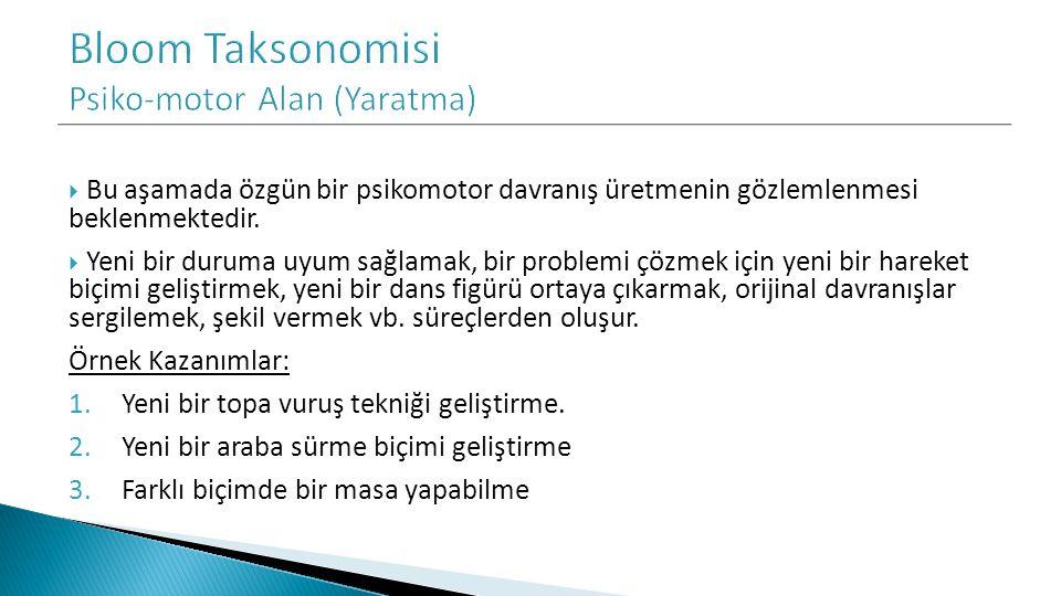 Bloom Taksonomisi Psiko-motor Alan (Yaratma)
