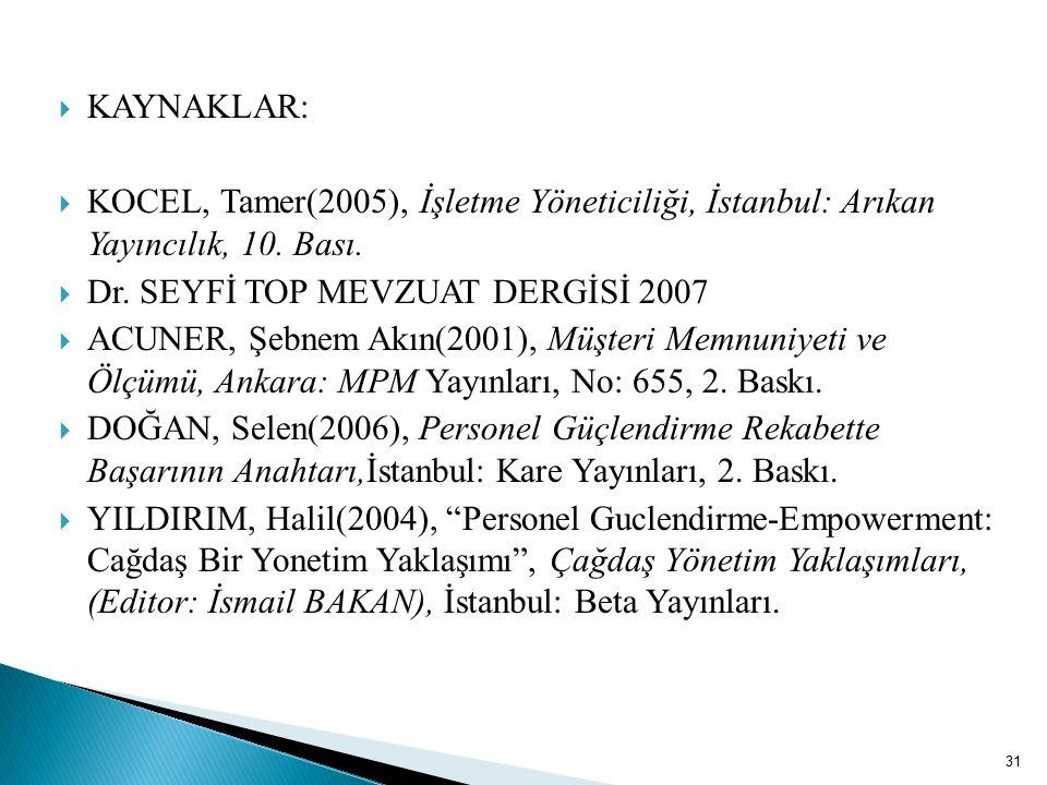 KAYNAKLAR: KOCEL, Tamer(2005), İşletme Yöneticiliği, İstanbul: Arıkan Yayıncılık, 10. Bası. Dr. SEYFİ TOP MEVZUAT DERGİSİ 2007.