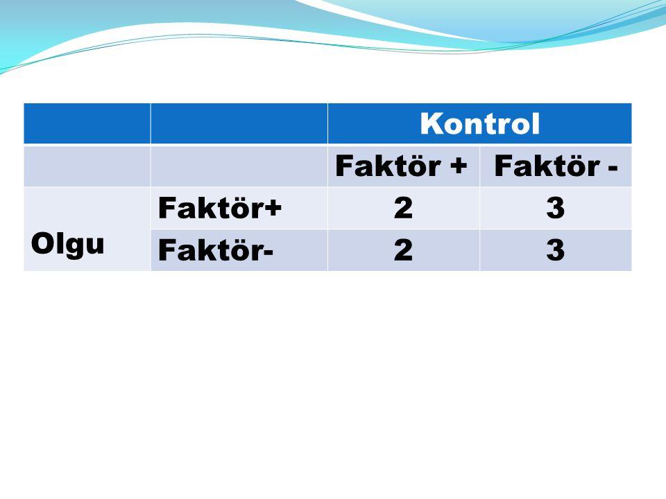 Kontrol Faktör + Faktör - Olgu Faktör+ 2 3 Faktör-