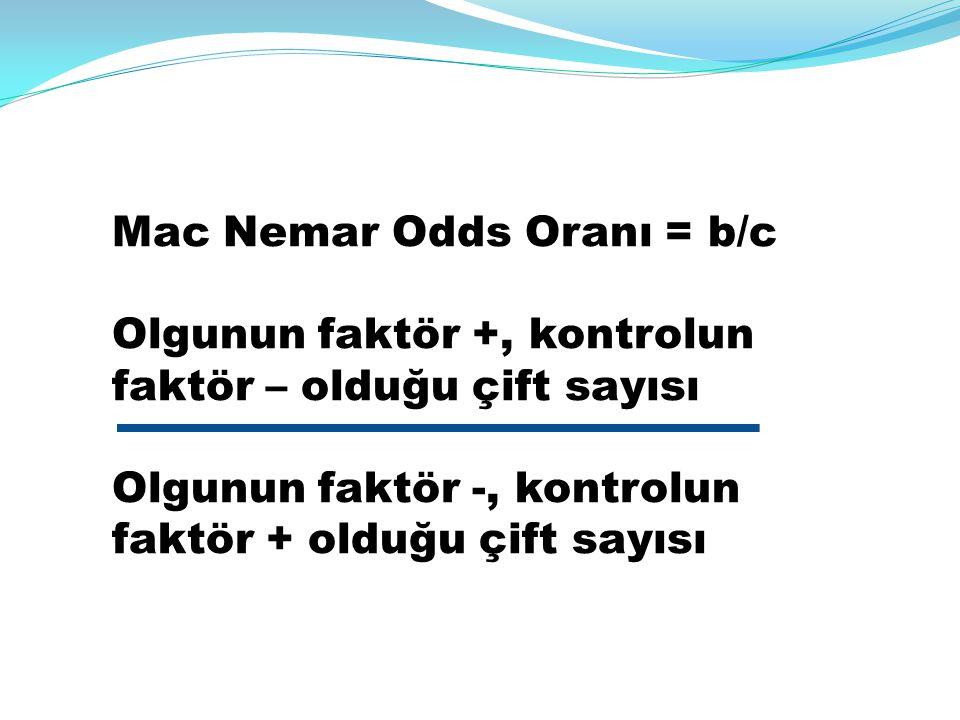 Mac Nemar Odds Oranı = b/c