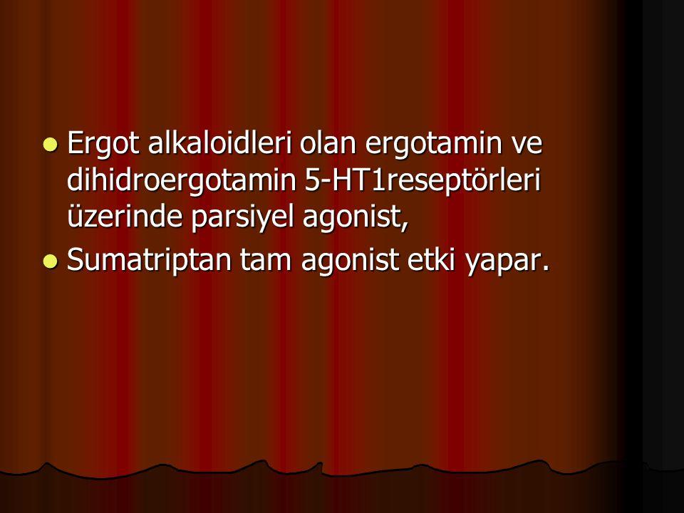 Ergot alkaloidleri olan ergotamin ve dihidroergotamin 5-HT1reseptörleri üzerinde parsiyel agonist,