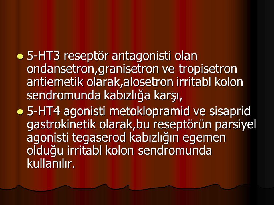 5-HT3 reseptör antagonisti olan ondansetron,granisetron ve tropisetron antiemetik olarak,alosetron irritabl kolon sendromunda kabızlığa karşı,
