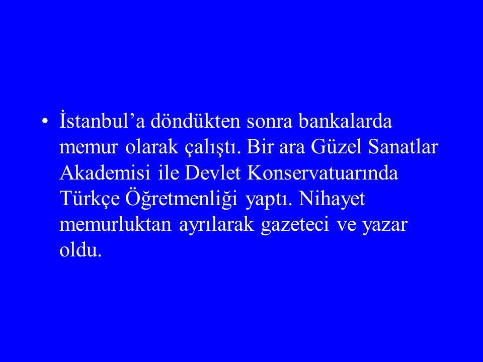 İstanbul'a döndükten sonra bankalarda memur olarak çalıştı