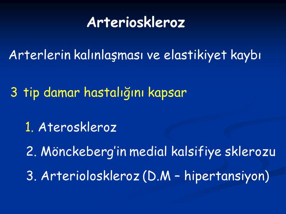 Arterioskleroz Arterlerin kalınlaşması ve elastikiyet kaybı