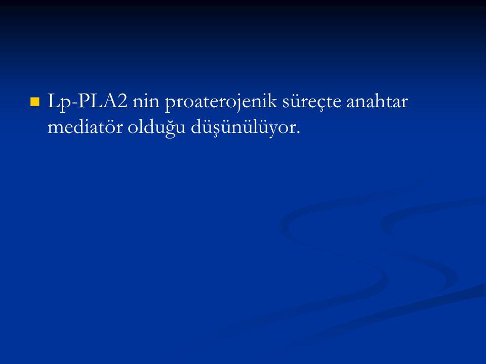 Lp-PLA2 nin proaterojenik süreçte anahtar mediatör olduğu düşünülüyor.
