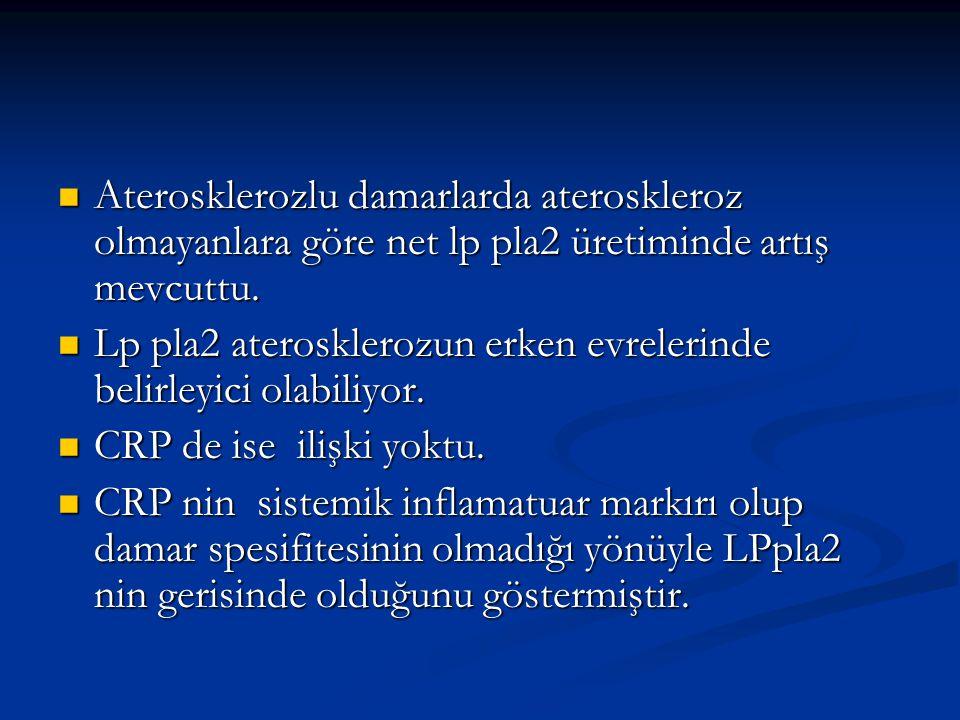 Aterosklerozlu damarlarda ateroskleroz olmayanlara göre net lp pla2 üretiminde artış mevcuttu.