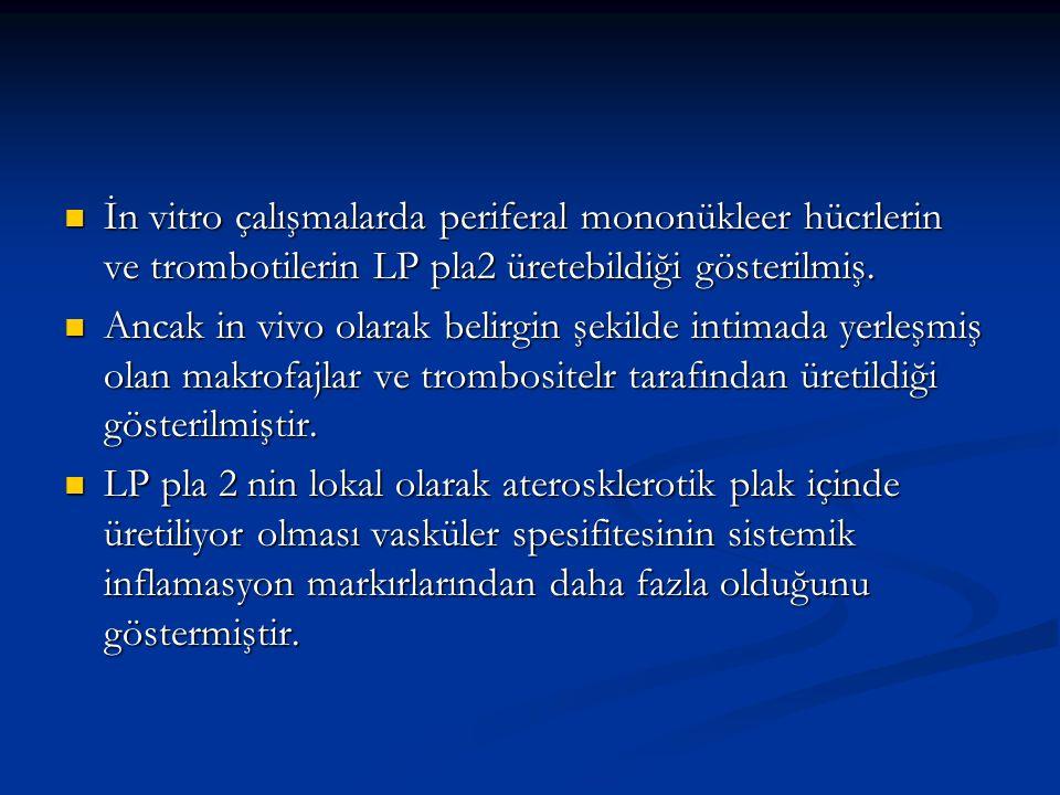 İn vitro çalışmalarda periferal mononükleer hücrlerin ve trombotilerin LP pla2 üretebildiği gösterilmiş.