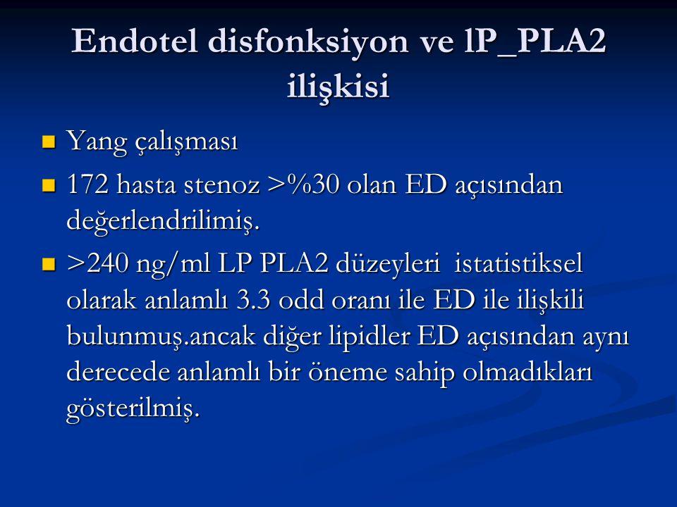 Endotel disfonksiyon ve lP_PLA2 ilişkisi