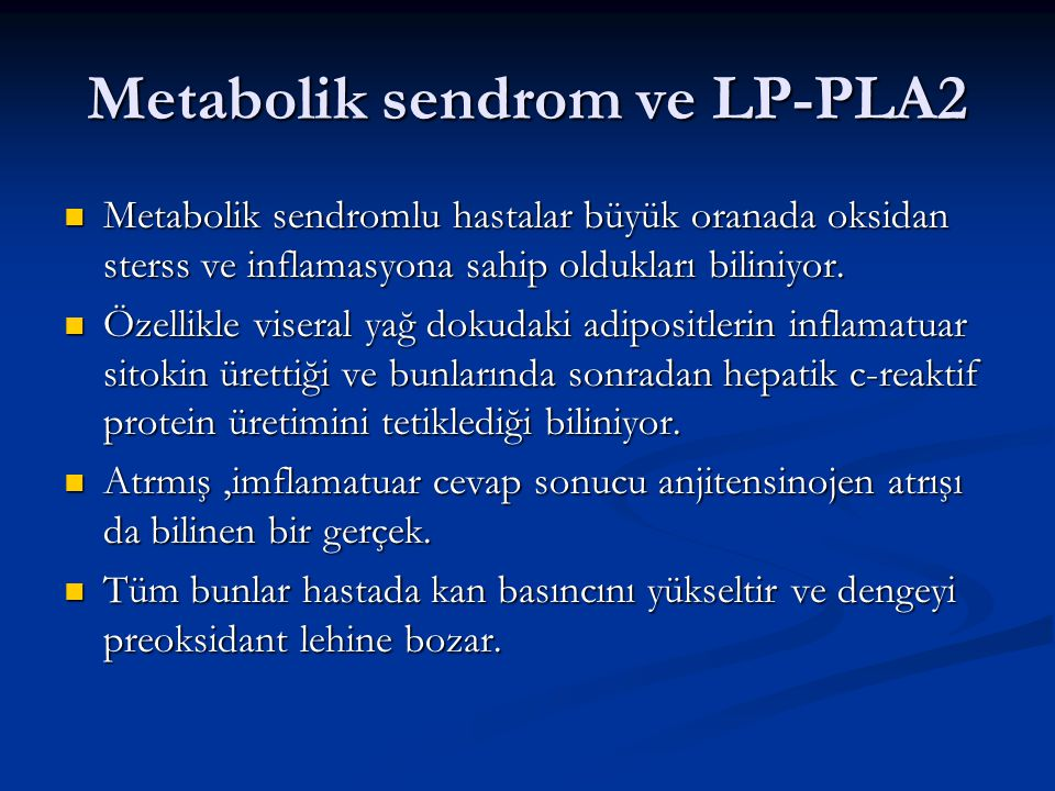 Metabolik sendrom ve LP-PLA2